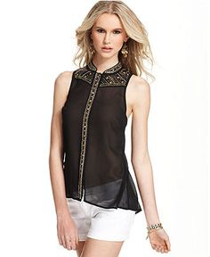GUESS Sleeveless Beaded Sequined Chiffon Blouse, diy idea.