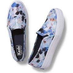 Keds TRIPLE DECKER SPLATTER ($60) ❤ liked on Polyvore featuring shoes, sneakers, navy, slip-on shoes, platform slip on shoes, navy slip on sneakers, navy platform shoes and keds sneakers