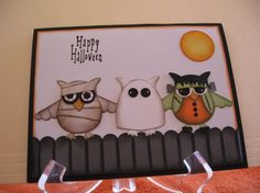 Halloween Punch Art using Stampin Up owl punch By Stamp-Patty's: Halloween Punch, Halloween Cards, Halloween Owl, Fall Cards, Holiday Cards, Holiday Ideas, Owl Punch Cards, Manualidades Halloween, Owl Card
