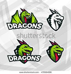 Dragon logo template. Sport mascot design. College league insignia, Asian beast…