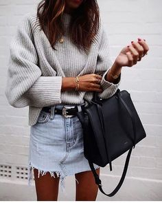 gray sweater, denim skirt, black bag