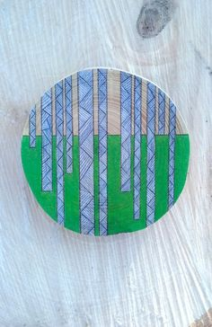 handmade, pencil drawn, green, birch trees, wooden brooch, gift for lady, womens accessory