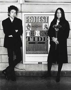 ob Dylan and Joan Baez with Protest Sign,