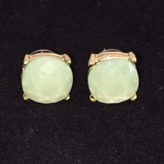 Large Mint Green Stud Earrings Beautiful Large Stud Earrings in a Light Mint Green color set in gold tone posts. Approximate size of a dime or penny. New. No Trades. Price firm unless bundled. All sales final. Ask questions prior to purchasing. I want happy customers! Thanks for visiting & Happy Poshing! Boutique Jewelry Earrings