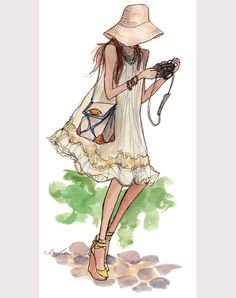 Illustration by Inslee Haynes. Art And Illustration, Camera Illustration, Fashion Sketches, Art Sketches, Fashion Illustrations, Illustration Fashion, Fashion Drawings, Fashion Art, Girl Fashion