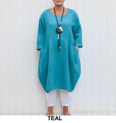 75972c3665b Ladies Lagenlook Plus Size Tunic Dress Parachute Pockets Boho Quirky LINEN  UK 16 18 20 22 24 26  US 14 16 18 20 22 24 26 28 - 9451