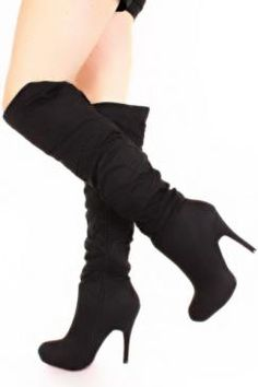 Wish | Black Suede Ruched Over The Knee Platform Boots