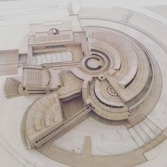 The curves and mix of different central locations is indicative of planets in orbit, something like this is very appealing. Architecture Concept Drawings, Futuristic Architecture, Architecture Plan, Museum Architecture, Architecture Portfolio, Parametrisches Design, Design Ideas, Design Inspiration, Circular Buildings