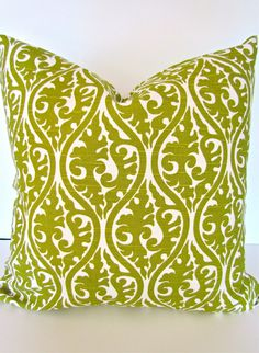 PILLOW COVER 20x20 Decorative Throw Pillows GREEN 20 x 20 Ikat Throw Pillow Covers