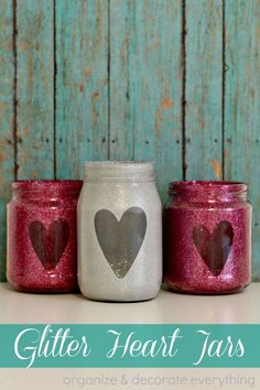 Make these Glitter Heart Jars using recycled glass jars, a cut out shape, a lot of glitter, and flameless tea light candles. Emilee made these for Valentine's Day and her bedroom before she left for Valentine Day Crafts, Valentine Decorations, Love Valentines, Holiday Crafts, Church Decorations, Funny Valentine, Holiday Ideas, Diy Candle Holders, Diy Candles