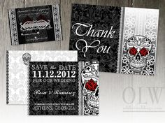 Red rose sugar skull wedding invitation, save the date and rsvp card. Great for that offbeat bride or theme wedding!