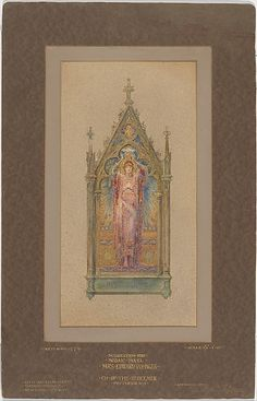 Design for a mosaic panel Gothic Script, Louis Comfort Tiffany, Stained Glass, Watercolor, History, American, Mosaics, Illustration, Painting
