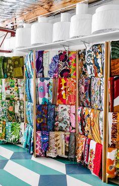 Vintage fabrics in Tamara's studio space in Brunswick. Photo -Brooke Holm.
