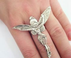 Large Tinkerbell Silver Adjustable Ring by SpotLightJewelry, $15.95