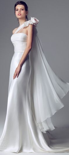 Blumarine Bridal - 2014 - One-shoulder Wedding Dress with Ruched Bodice and Satin Skirt