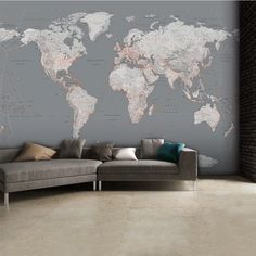 Gray world map poster large world map print modern home decor cole bathroom detailed silver grey world map feature wall wallpaper mural gumiabroncs Image collections