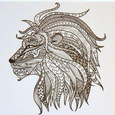 #Tangle #Bilderrahmen Löwenkopf