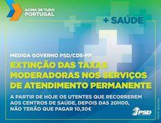 Depois das 20 horas de hoje, passa a pagar-se 5€ em vez de 10,30€ nos centros de saúde. #acimadetudoportugal