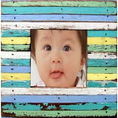 3x3 Beachy colored wood strips picture frame made from recycled wood.(OUT: 6x6)  $33.00