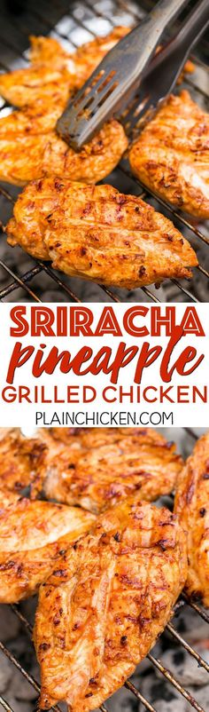 Sriracha Pineapple Grilled Chicken Recipe - chicken marinated in bbq sauce, mustard, Sriracha, honey and pineapple juice. Sweet, smokey and a tad bit spicy. Tons of great flavor and super juicy. We doubled the recipe for leftovers. Grilled Chicken Recipes, Marinated Chicken, Recipe Chicken, Sriracha Chicken, Mustard Chicken Marinade, Honey Sriracha Sauce, Sriracha Recipes, Grilled Tofu, Grilling Recipes