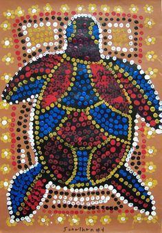 "From exhibit ""Aboriginal Art, Grade 4 - eraser dots mosaic - each child assigned a different color like the fingerprints"