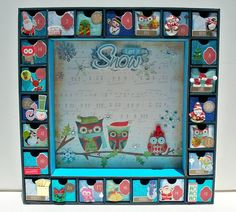 Advent Calendar Christmas Owls - Wooden Advent Calendar - Personalized Gifts - Countdown Calendar - Holiday Decorations