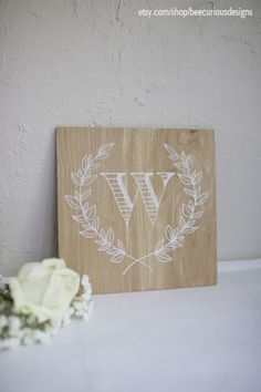 Monogram sign hand painted on light stained plywood. Laurel wreath. Bridesmaid/Groomsmen Gift. Personalized. Wedding. Housewarming. Anniversary