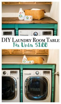 DIY Laundry room table for under $100! You will love this makeover! A fabulous idea to add decor and organization in such a small space!