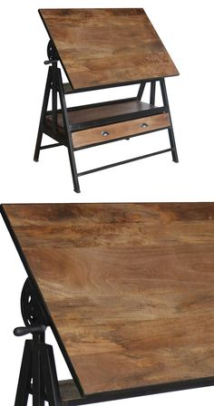 Take your functional furnishings up a notch and don't skimp on décor beauty. Why stick with ordinary when the Cheney Drafting Table offers the elegance of solid mango wood in a gorgeous tobacco finish,...  Find the Cheney Drafting Table, as seen in the A Modern Craftsman Dream Home Collection at http://dotandbo.com/collections/a-modern-craftsman-dream-home?utm_source=pinterest&utm_medium=organic&db_sku=122985