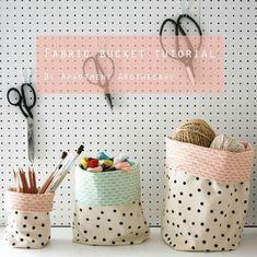 DIY, fabric storage buckets, to make, craft Fabric Crafts, Sewing Crafts, Sewing Projects, Diy Projects, Sewing Hacks, Sewing Tutorials, Tutorial Sewing, Bag Tutorials, Pouch Tutorial