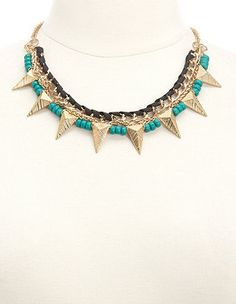 Mixed Media Beaded Spike Collar Necklace: Charlotte Russe #mmcstyle #mmcsweepstakes