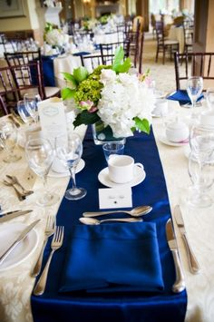#blue wedding table ... Blue themed #wedding tables - photo by Purple Martini Wedding & Event Photography, via Rustic Weddings.