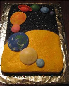 Solar System Cake...the mom who posted this let her daughter mold the planets from pre-colored fondant. LOOOOVE this!