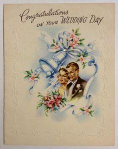 Bride Groom Wedding Bells Diamond Embossed 1940s Vintage Greeting Card