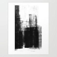 Black White Grey Abstract Monotype Art Print by - X-Small Black And White Wall Art, Black And White Painting, Black White, Large Black, Artwork Prints, Canvas Art Prints, Fine Art Prints, Wall Paintings, Black Abstract
