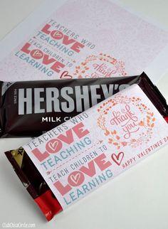 Teacher Appreciation Valentine's Day Chocolate Bar Free Printable   Tween Craft Ideas for Mom and Daughter #teacherappreciationgifts