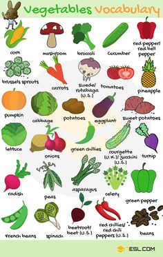 Vegetables Vocabulary Vegetables in English! List of vegetables with images and examples. Learn these vegetables names to increase your vocabulary words about fruits and vegetab Learning English For Kids, Teaching English Grammar, English Lessons For Kids, Kids English, English Writing Skills, English Vocabulary Words, Learn English Words, English Tips, English Phrases