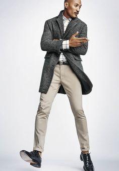 Today's Look: Overcoat. Photo: Steve Alan. #ootd #menswear #mensfashion #mensstyle #instafashion #brogues #checkedshirt #overcoat