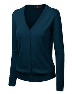 ad494042d2 MBJ WSK780 Womens Keep It Classic V Neck Cardigan XXXL TEAL at Amazon  Women s Clothing store
