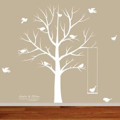 Vinyl Wall Decals, Nursery Wall Art, Modern White Nursery Tree, Winter Tree Decal, Nursery Decals