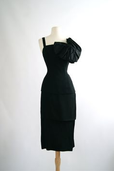 Vintage 1950's Wiggle Dress  50s Little Black by xtabayvintage