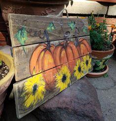 Pumpkin sunflowers wooden Fall\Autumn art on reclaimed wood fence\ Rustic\ Artist Bill Miller of Miller's Art/ Great Fall/Front Porch decor Pumpkin Canvas Painting, Autumn Painting, Autumn Art, Pallet Pumpkin, Pumpkin Art, Wood Pallet Signs, Painted Wood Signs, Painted Boards, Hand Painted