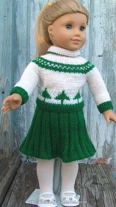 ABC Knitting Patterns - American Girl Doll Colorwork Sweater. ==> there's a pattern for the skirt too