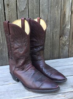 Vintage DAN POST Men's Burgundy Leather Stitched Western Cowboy Boots- Size 14 D #DanPost #CowboyWestern
