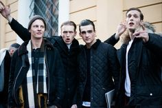 You've Got Male: On the Street With the Men of Fashion Week Tim Schuhmacher, Dimitrij Vysokolyan, Elliot Vulliod, and Felix Gesnouin after Canali's Fall 2015 show.