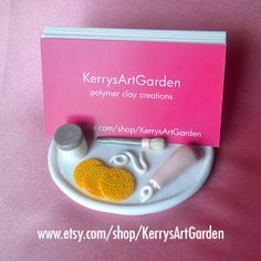 Esthetician Polymer Clay Business Card Holder $32  www.etsy.com/shop/KerrysArtGarden