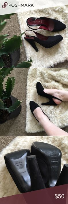 ✨ HOST PICK PRADA Suede Slingback Heels HOST PICK!! Authentic PRADA black heels. Black real suede exterior fully lined with maroon authentic leather. Small platform for comfort, pointed toe and slingback strap. These are incredibly classic chic. Made in Italy. Feel free to ask any questions! ✨🌜 Prada Shoes Heels