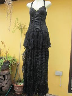 gothic bohemian black bustier dress with layers and ruffles of netting and lace.......