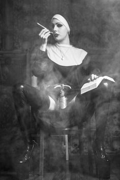 Nuns just wanna have fun Gothic Art, Gothic Girls, Bad Sister, Hot Nun, Religion, Ange Demon, Arte Obscura, Poster S, Girl Smoking
