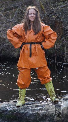 Darina having fun in her wet & muddy orange rainsuit » Adventure In Wellies. Wellies lovers site. Girls in wellies. WAM.